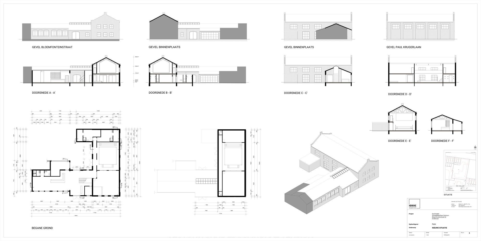 Schaakboks trainingscentrum bouwtekening | Space Identity | Interieurvormgeving | Tiel