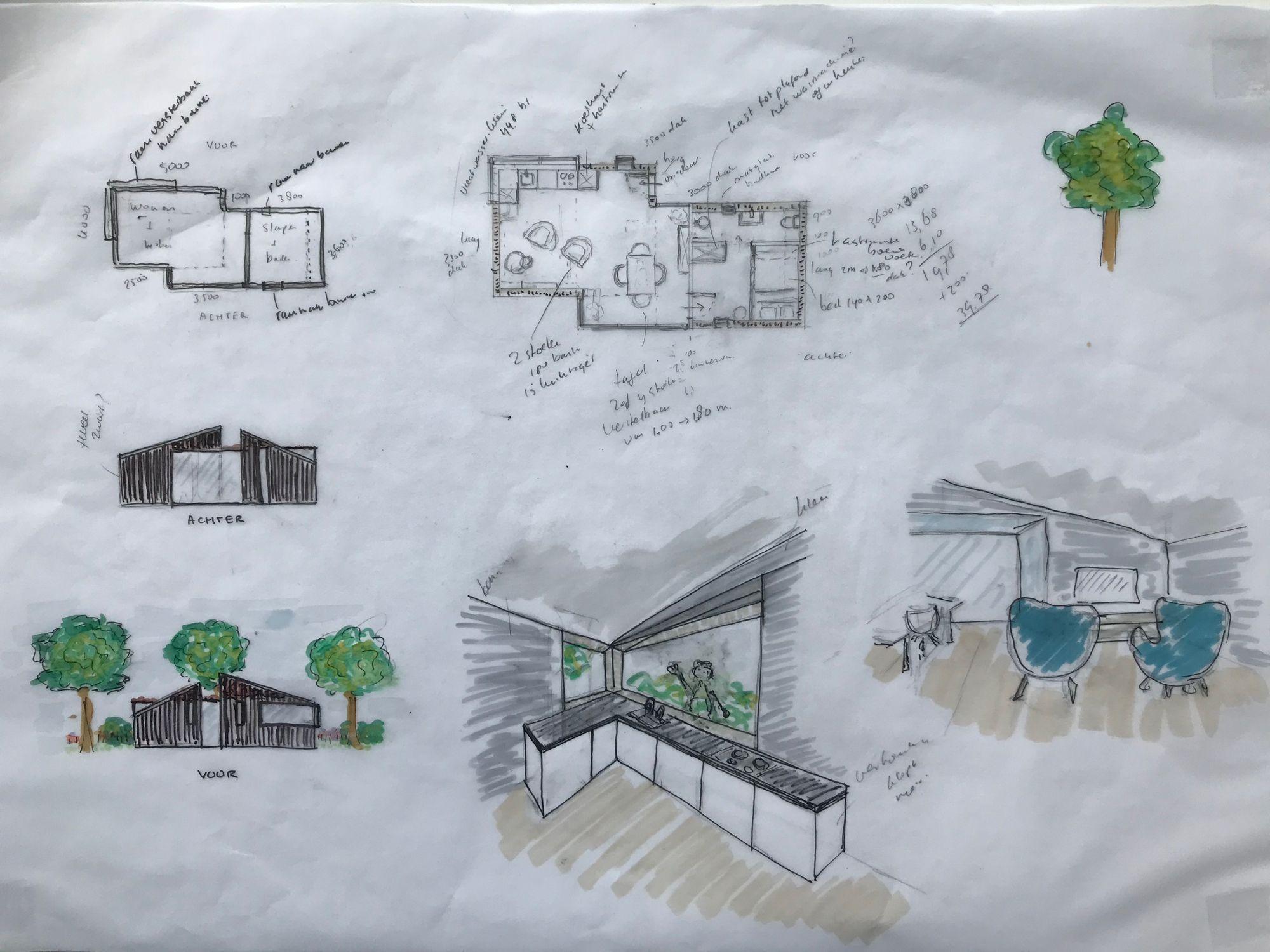 Project compact wonen schets Interieur project compact wonen | Space identity | Interieurvormgeving Tiel